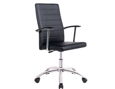 Silla oficina despecho elevable altura apoya brazos polipiel negra rueda