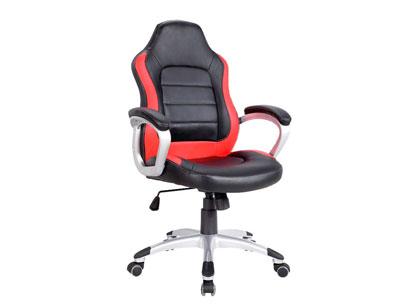 Silla oficina ergonomica polipiel brazos ruedas roja