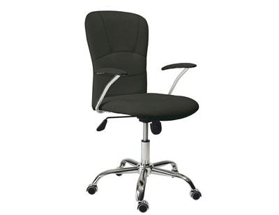 Sillon oficina despacho tapizada respaldo alto apoya brazos negra ruedas