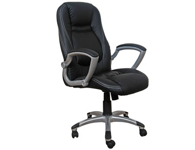 Sillon oficina despacho tapizada respaldo alto apoya brazos negra