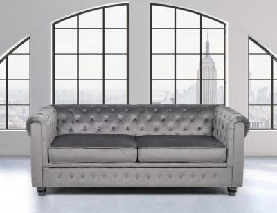 Sofa 3 plazas tapizado terciopelo gris chester
