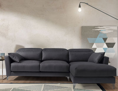 Sofa chaiselongue gran lujo decorativo grafito