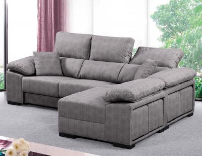 Sofa chaiselongue reversible 4 taburetes asientos extraible plata 21