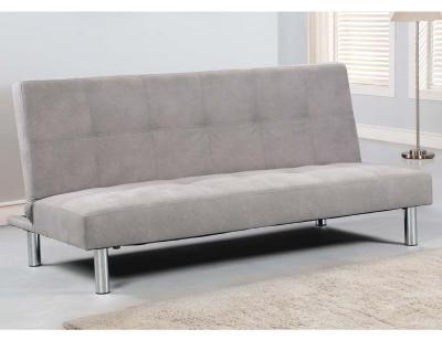 Sofa clic clac tapizado gris marengo patas cromadas beisbol
