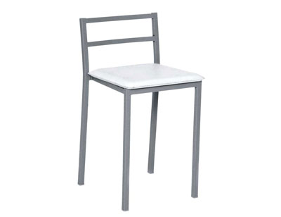 Taburete bajo asiento polipiel 255 blanco